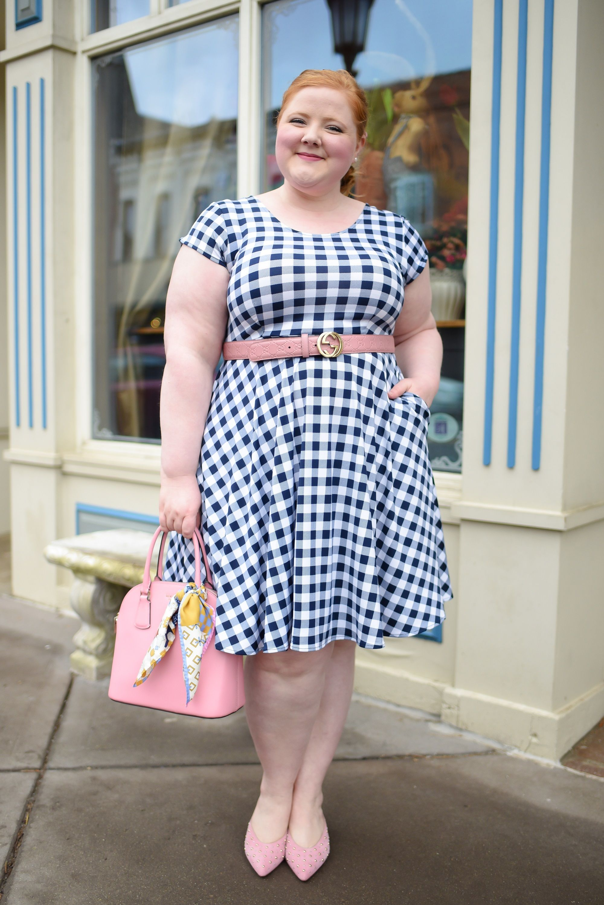 3 Everyday Dresses for Spring and Summer from Karina Dresses (sizes xs-3X): the Joan in Navy Dot, Megan in Orange Vintage Floral, and Naomi in Navy Gingham. 1