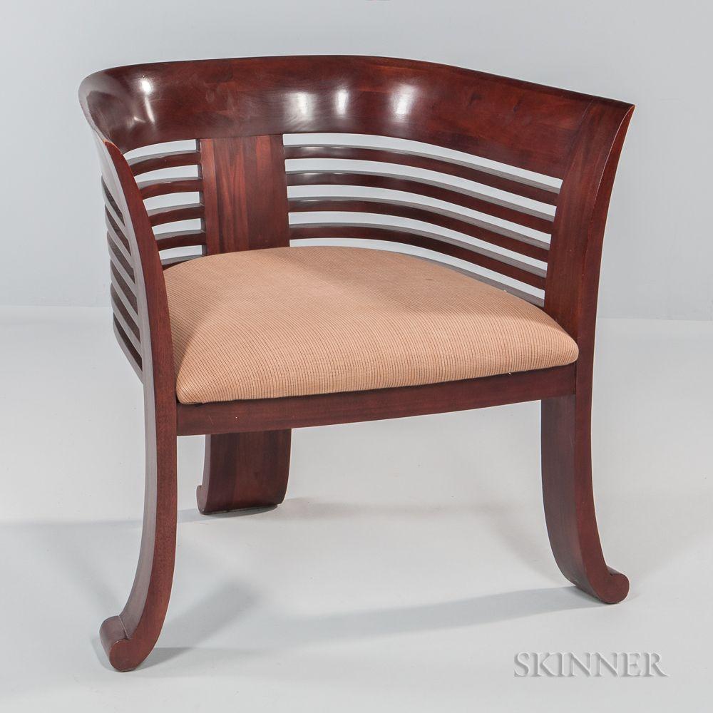Art Deco Style Barrel Back Club Chair 20th Century Auction 3112b Lot 31 Estimate 400 600 Register Art Deco Decor Deco Furniture Art Deco Furniture