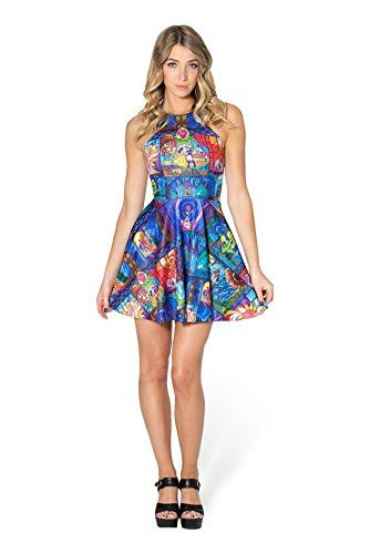 6da7b1b9aeb Ensasa Women s Fashion Beauty  amp  The Beasts Printed Sleeveless Skater  Dress Ensasa http