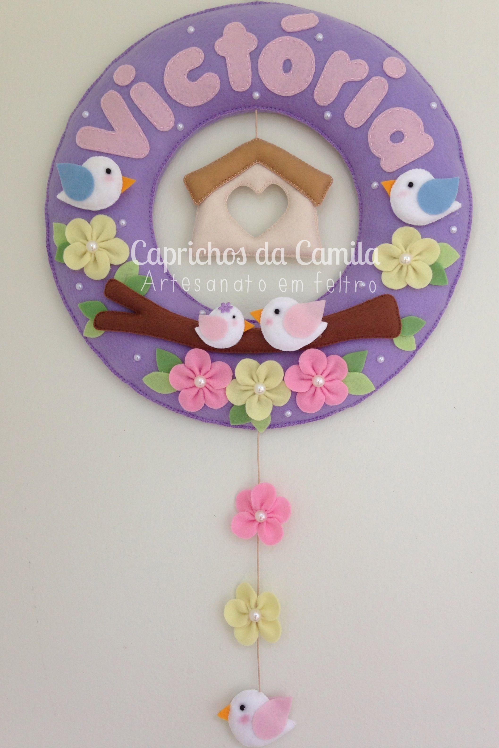 Enfeite de porta maternidade casinha de passarinho menina. Orçamento por e-mail: caprichosdacamila@gmail.com ou inbox no facebook: Caprichos da Camila