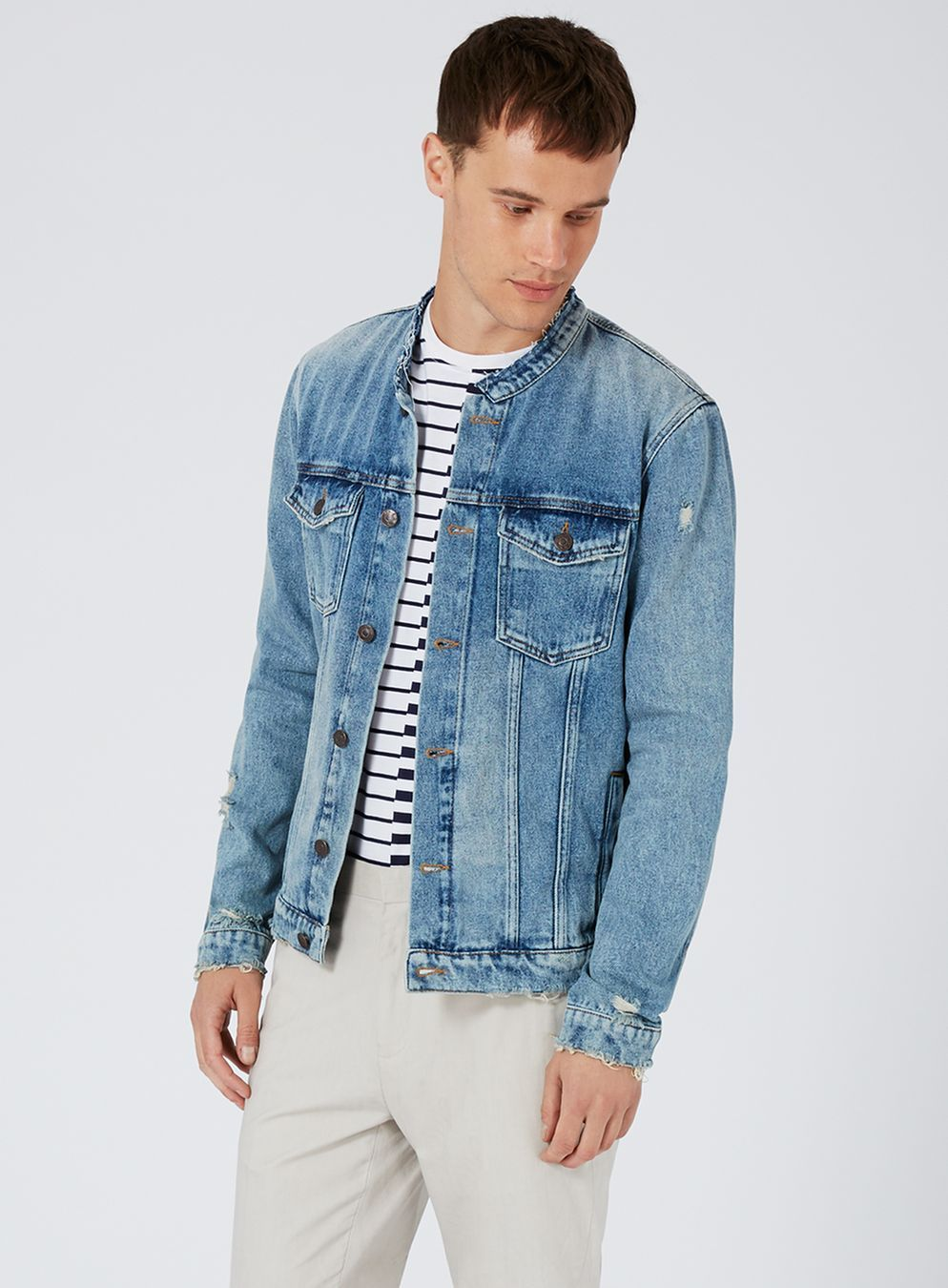Blue Collarless Denim Jacket Collarless Denim Jacket Denim Jacket Denim Ideas [ 1350 x 994 Pixel ]