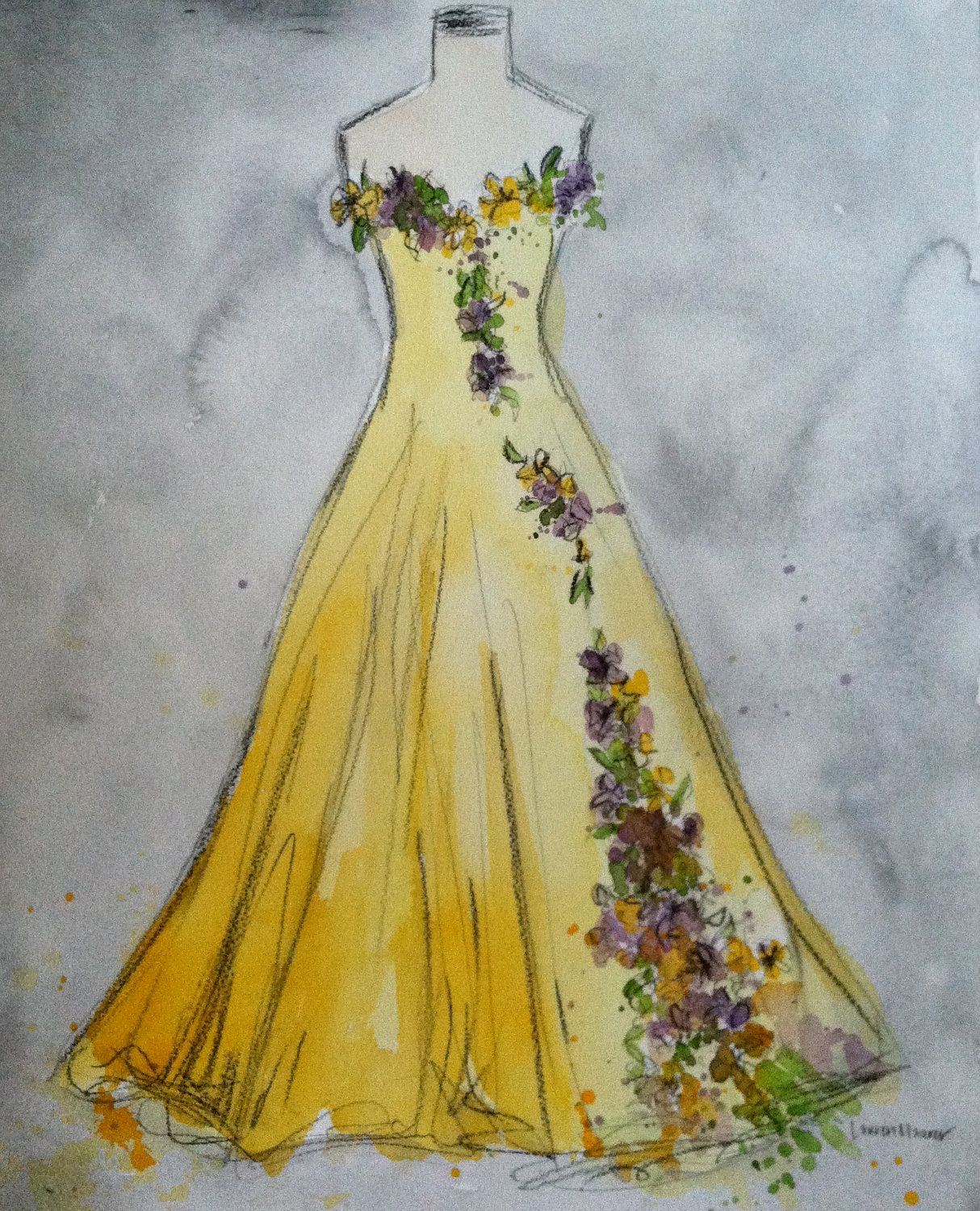 My Dress with Flowers. Original Watercolor