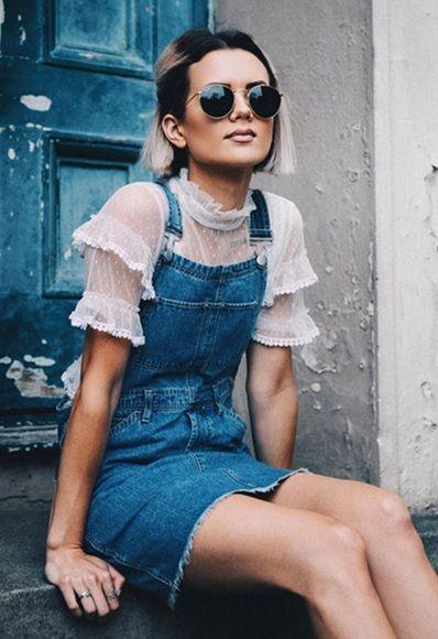 fdd66b13d21 Blogger wearing short frilled-sleeve top under a denim pinafore dress on  ASOS  AsSeenOnMe
