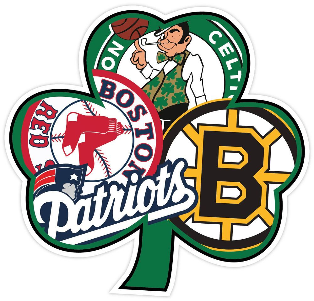 "Boston Sports Fan Decal Bruins Patriots Celtics Red Sox 16/"" Vinyl Sticker"
