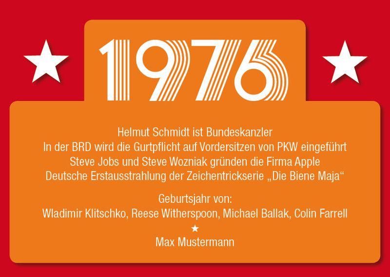 Einladung Zum 40. Geburtstag: 1976 Rainers Favorit