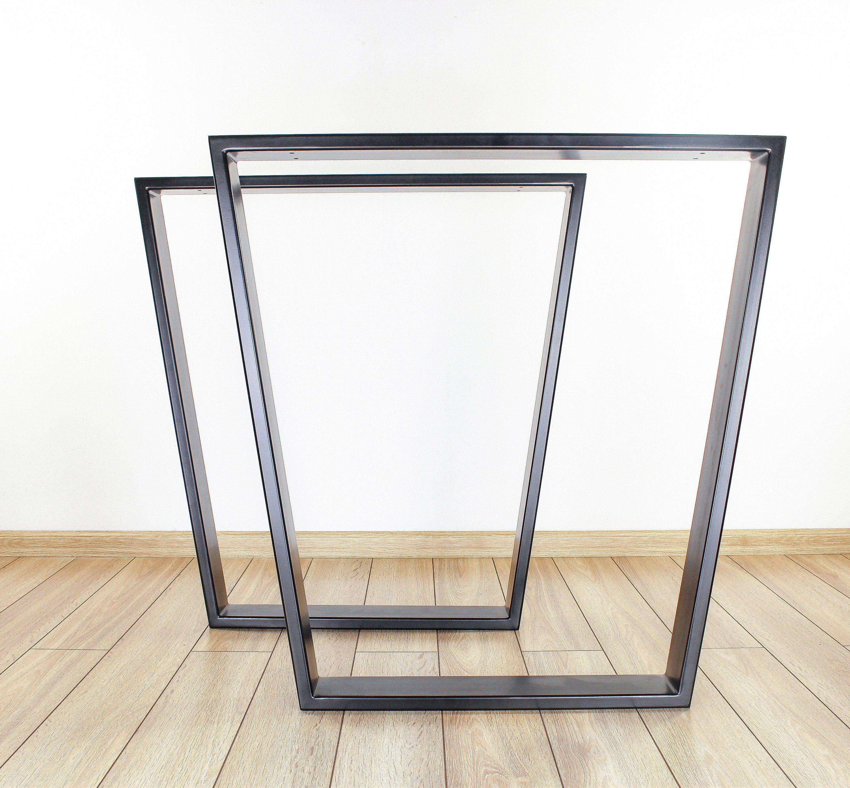 Trapezoid Dining Table Legs Set Of 2 Steel Table Legs Etsy In 2021 Modern Table Legs Dining Table Legs Wood Table Legs