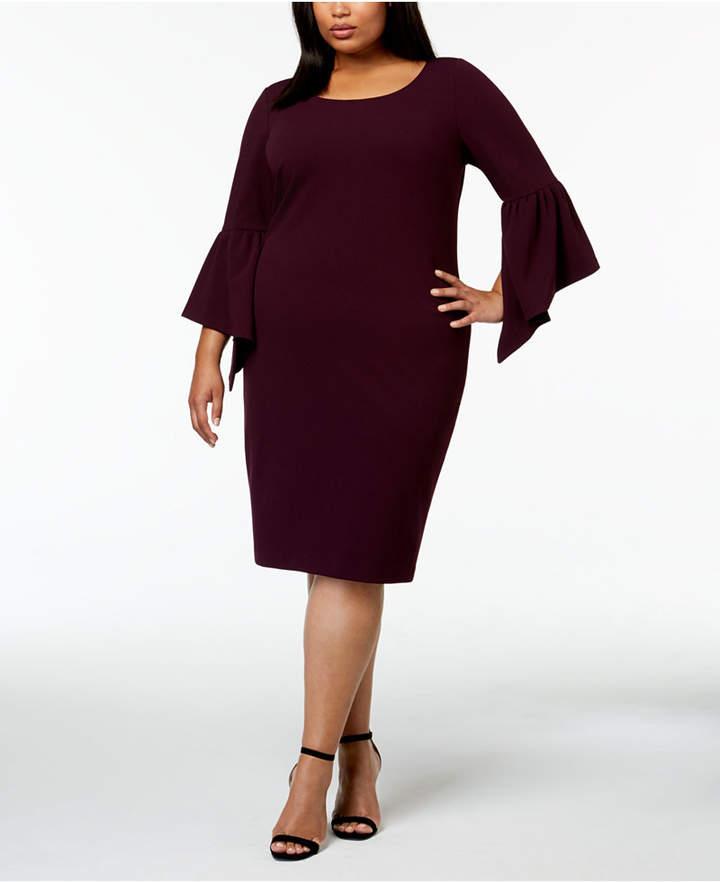 Calvin Klein Plus Size Asymmetrical Bell Sleeve Sheath Dress