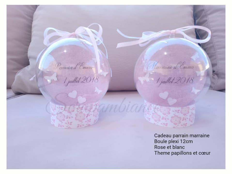 Cadeau parrain marraine / cadeau souvenir baptême /personnalisé / boule plexi/plastique / cadeau baptême / 6cm, 7cm, 8cm, 10cm, 12cm