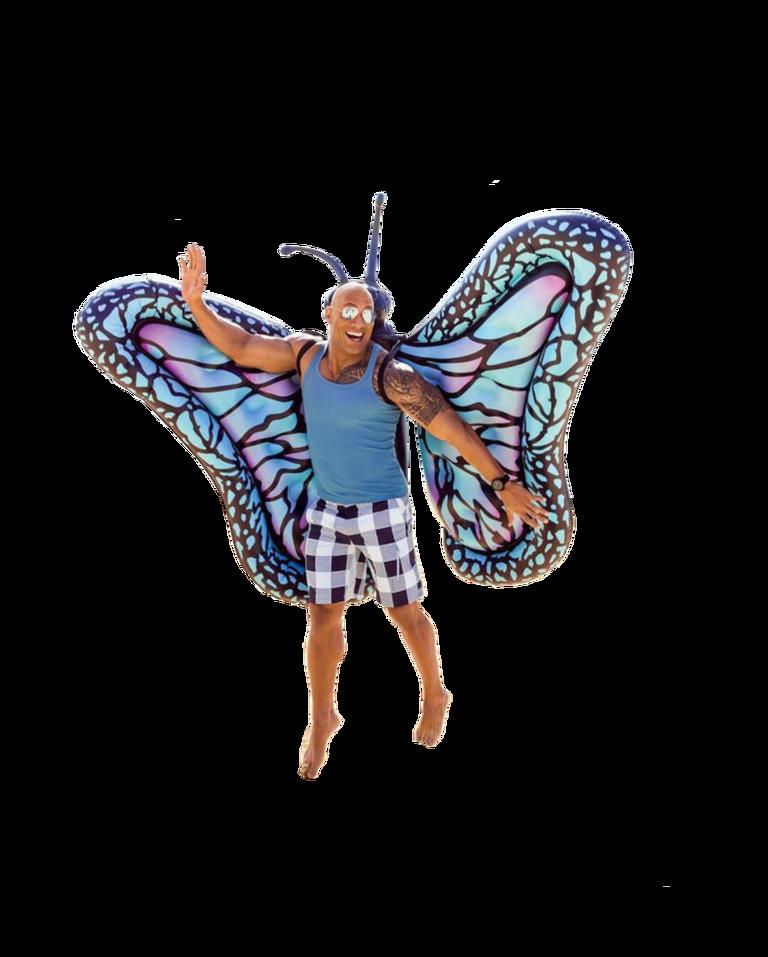 r/photoshopbattles: The Rock wearing butterfly wings album
