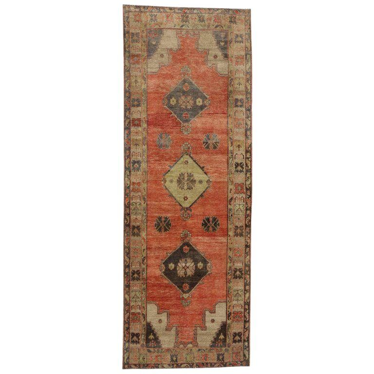 Vintage Mid Century Turkish Oushak Runner Rug 4 6 12 8 Rug Runner Rugs On Carpet Carpet Runner