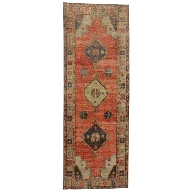 Vintage Mid Century Turkish Oushak Runner Rug 4 6 12 8 Rug Runner Rugs On Carpet Carpet Runner