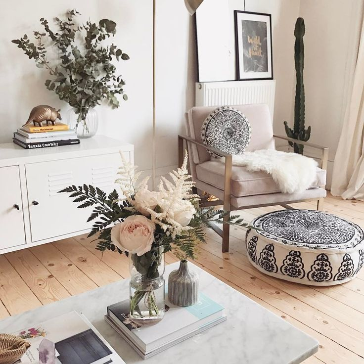 Bohemian Style In A Living Room With Neutral Color Palette Featuring An Embroidered Pouf