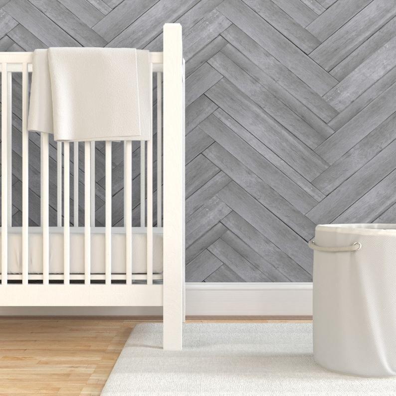 Herringbone Wallpaper Gray Herringbone Wood Panels By Etsy Herringbone Wallpaper Herringbone Wood Drawer And Shelf Liners
