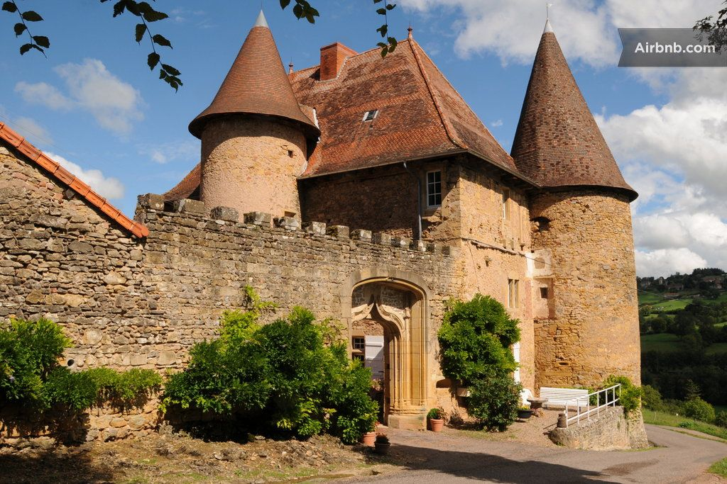 Castle in Saint Martin de Lixy, France. Yellow stones, French ceilings, spiral staircase, large fireplaces marked with the seal of the Templars. A timeless place to live exceptional holidays...  Let Chateau de Barnay will charm you with its unusual setting, a warm welcome and comfort.  ...
