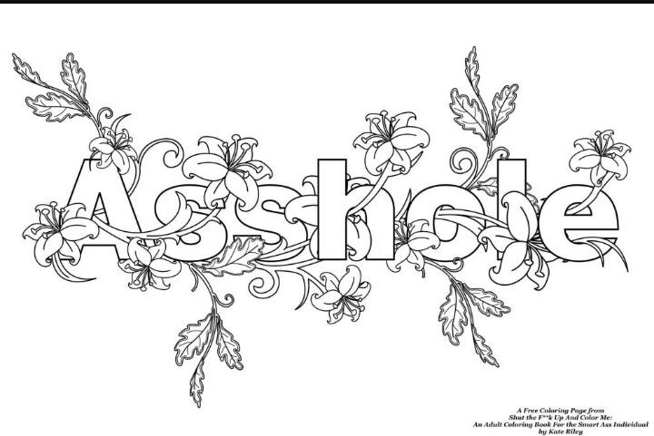 Asshole Swear Words Adult Coloring Book Pages Other Adult