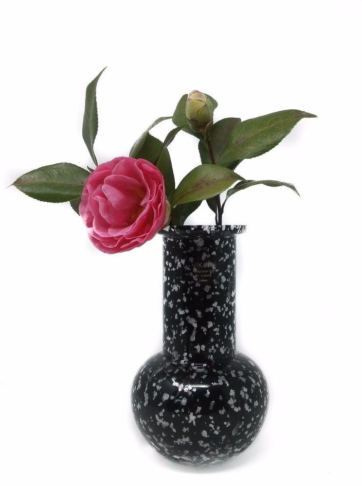 Vintage Mikasa Handcrafted By Kurata Japan Black Crystal Vase