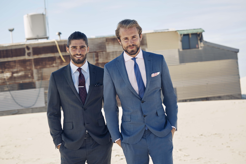 Norwood grey suit; Grenier sky shirt; Valdaora magenta tie; Maddox tie clip; Mozart blue pocketchief. Maitland denim suit; Pesenti pink shirt; Tamango blue tie; Warlow pink pocketchief.