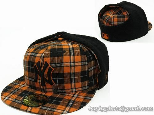 Cheap Wholesale Mlb New York Yankees Winter Caps Earflaps Hats Orange Grid For Sale Mlb Fitted Hats Fashion Cap Fitted Hats Winter Cap