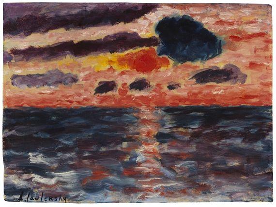Artwork By Alexej Von Jawlensky Sonnenuntergang Borkum Made Of Oil On Paper With Canvas Structure On Board Peintre Peinture Musee