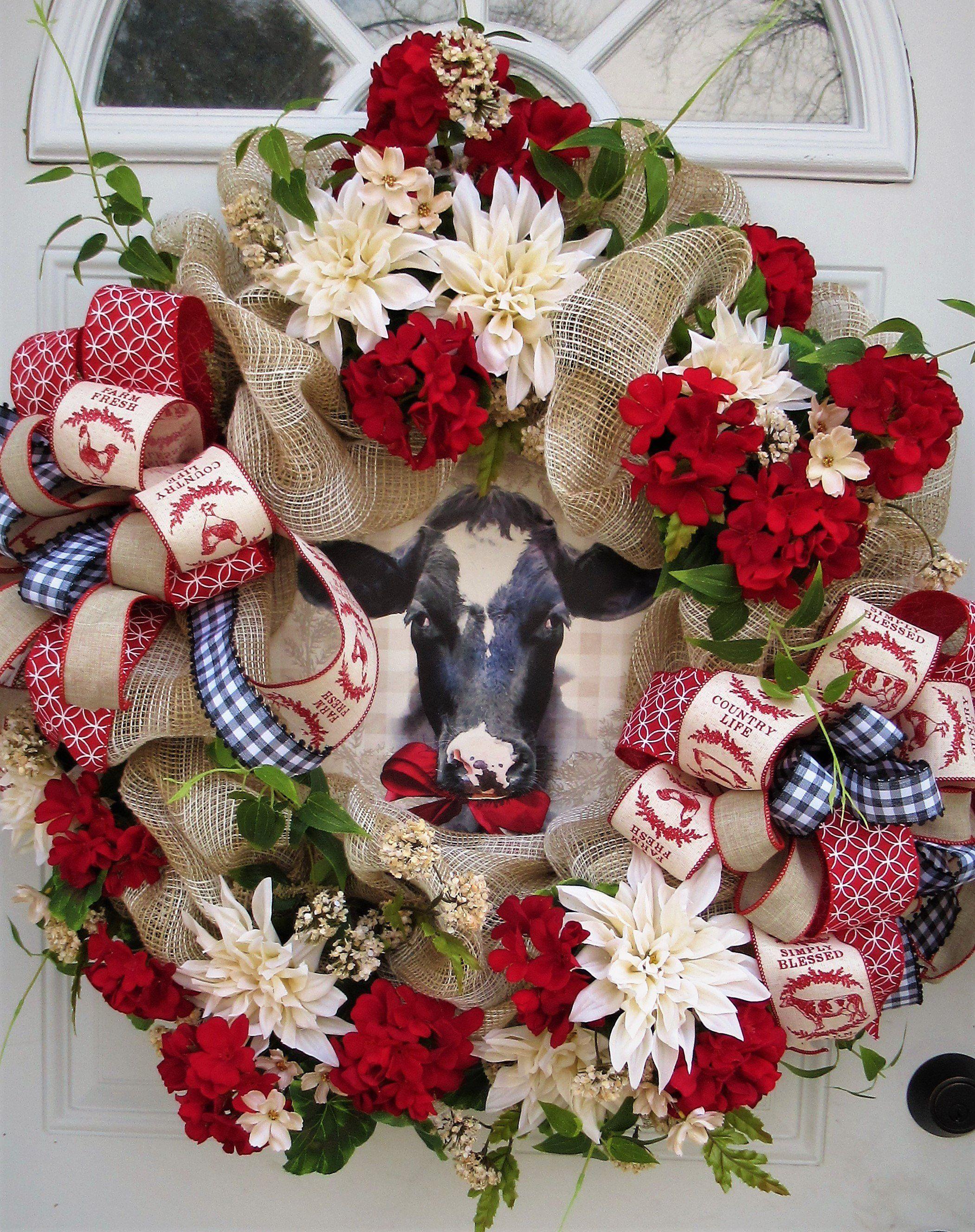 Farmhouse cow wreath country cow wreath mesh farmhouse