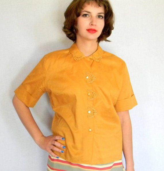 a89b4c6d929e5 Vintage Cutwork Blouse. Mad Men Fashion. 50s Cotton Shirt. Honey ...