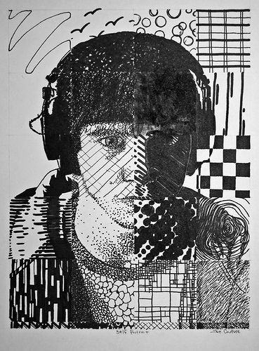 grid self portrait-in each section - use a different pattern