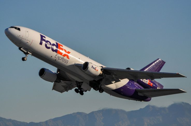 FedEx MD-10 leaving LAX early morning on Friday, Dec. 18, 2015.