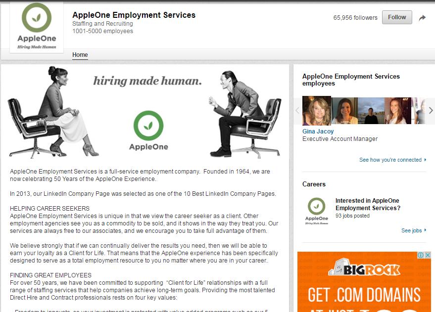 AppleOne-LinkedIn-Page