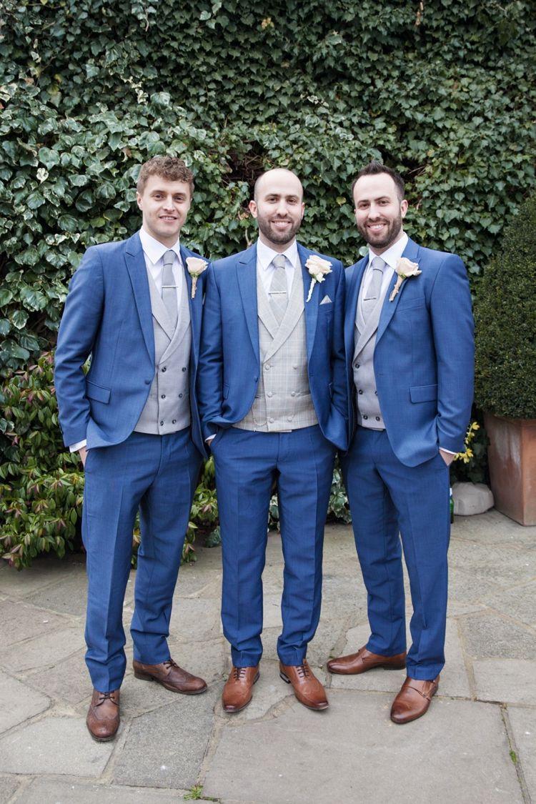 Blue Suit Tan Shoes Grey Waistcoat Groom Groomsmen Cosy Winter Barn Wedding Http