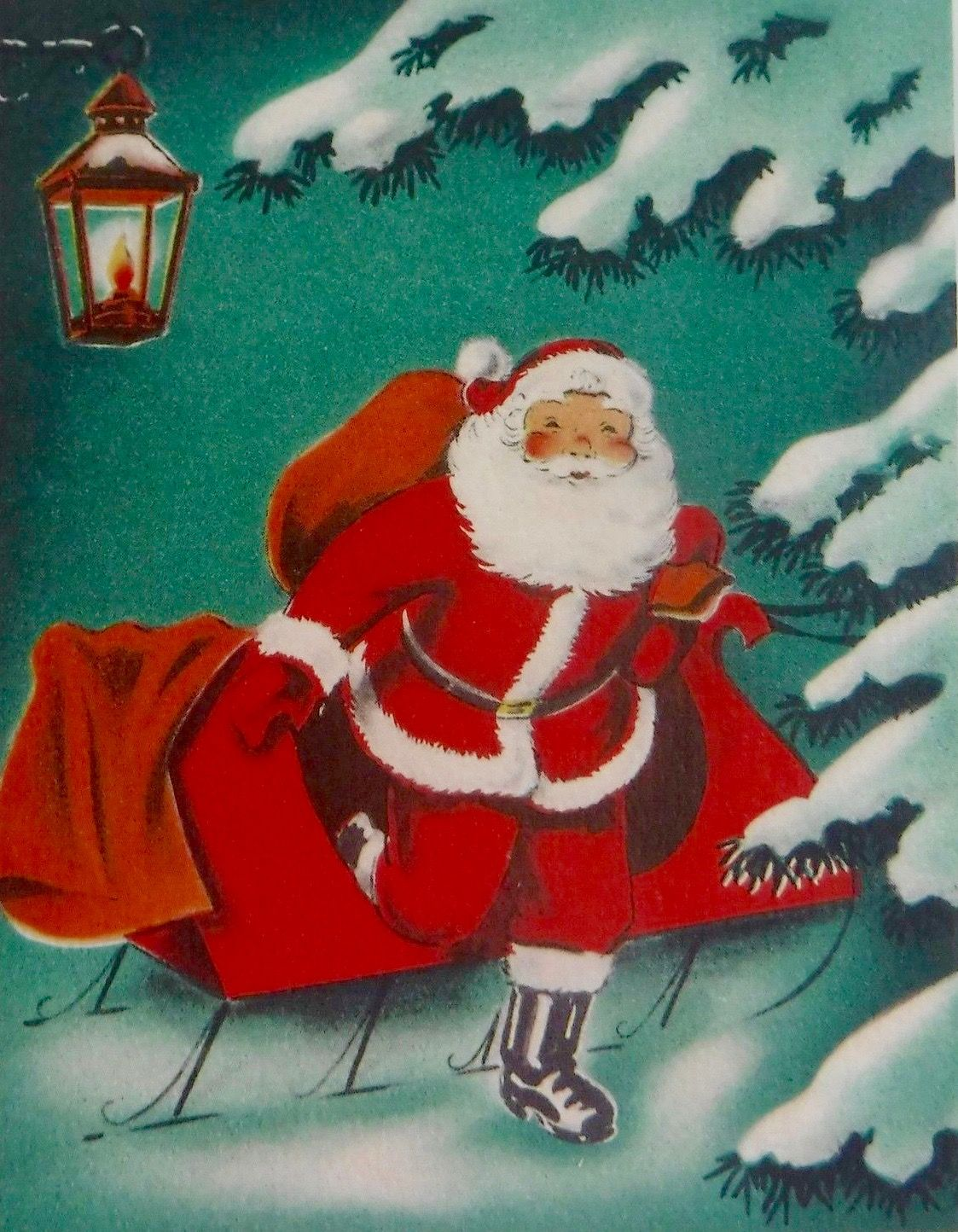 Vintage Santa. Retro Santa. Vintage Christmas Card. Retro Christmas ...