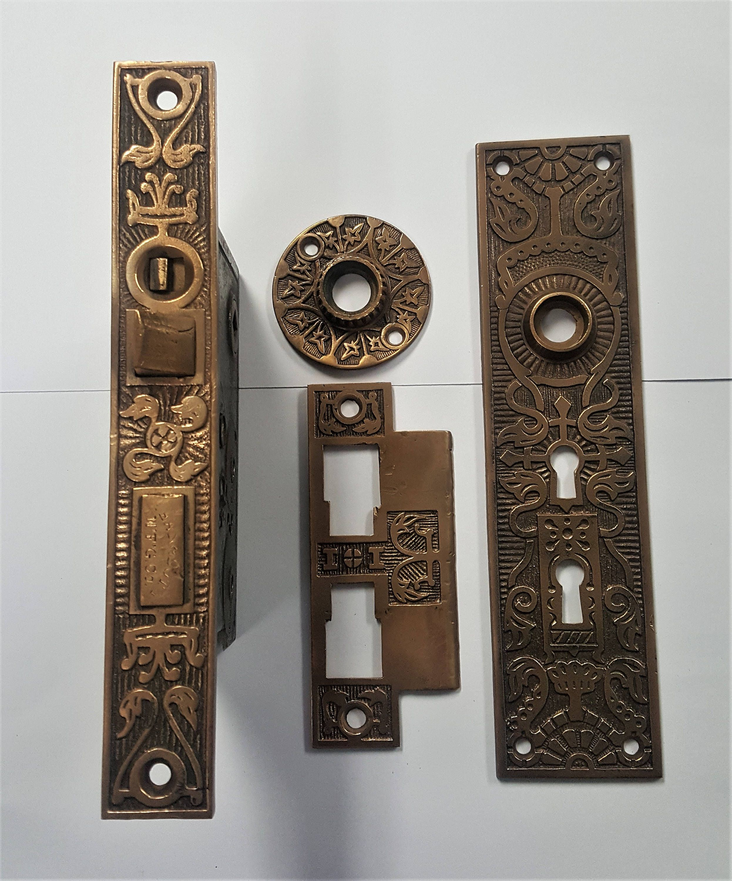 K D Antique Mortise Lock Set Back Plate Rosette And Lock