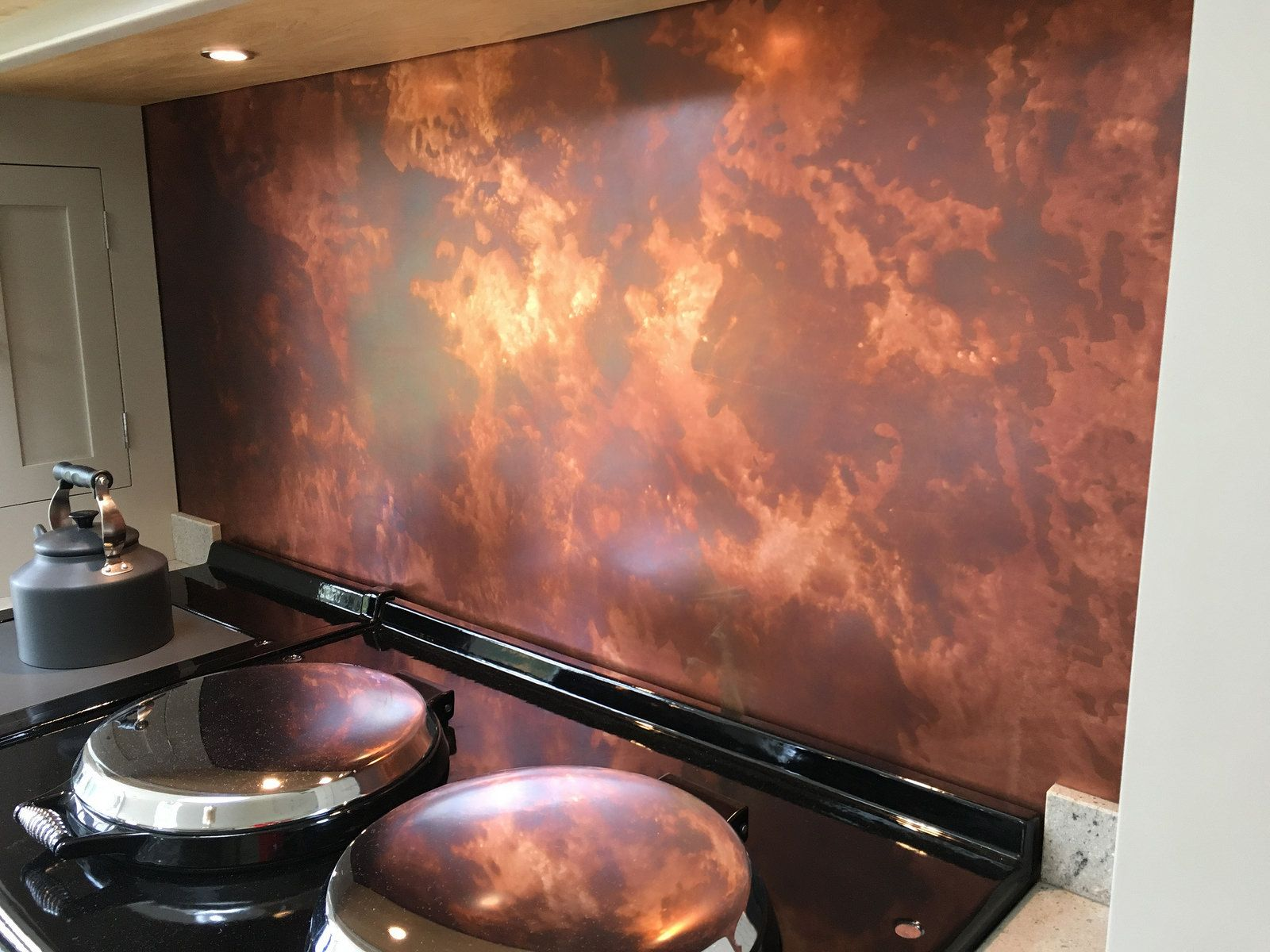 - 153 - Bespoke Patina Copper Splashback Copper Kitchen Backsplash