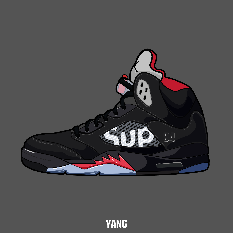 Drawing Shoes Sneakers Nike Air Jordan Carmine Graphic Design Illustrator Illustration