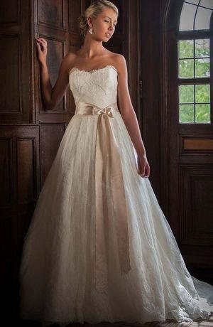 Bridal Gowns: Augusta Jones A-Line Wedding Dress with Strapless Neckline and Natural Waist Waistline