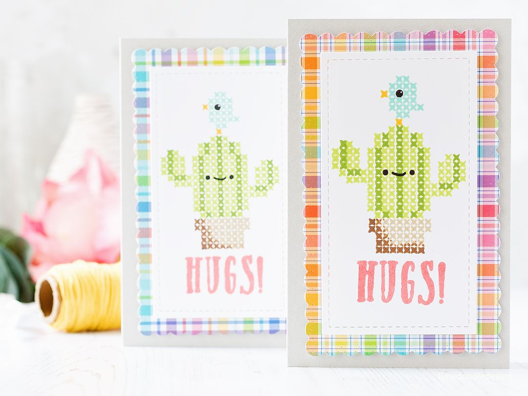 Stitched cacti card duo by Debby Hughes using the Stitched Cacti set from Waffle Flower. Find out more about these cute cards by clicking on the following link: http://limedoodledesign.com/2017/04/stitched-cacti-cuties/