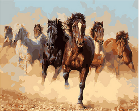 YEESAM ART New Paint by Numbers for Adults Children Three Galloping Horse 16*20 inches Linen Canvas DIY Digital Painting by Numbers Kits on Canvas