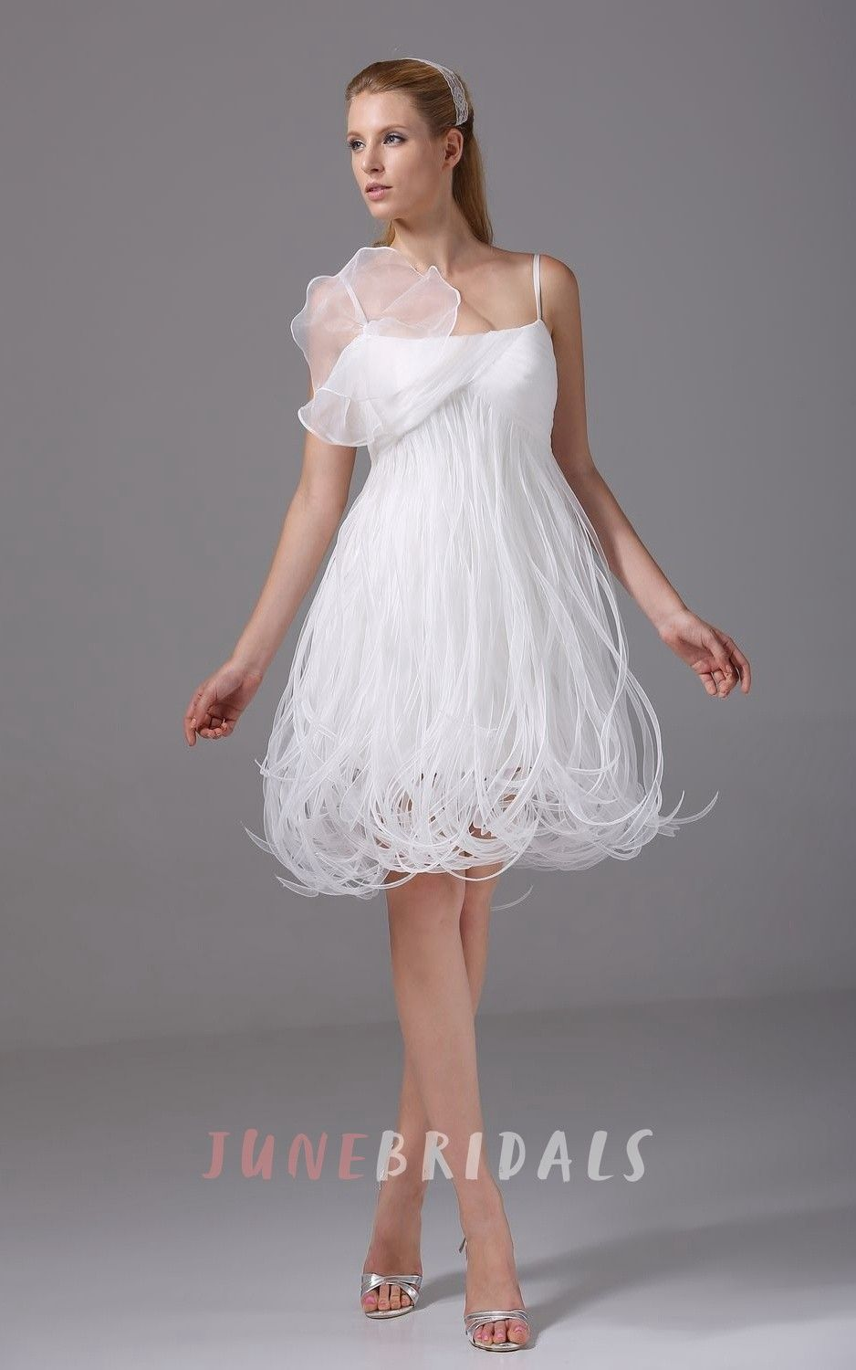 Mini white wedding dress  Lovely SpaghettiStrap KneeLength Dress With Thread Design  Unique