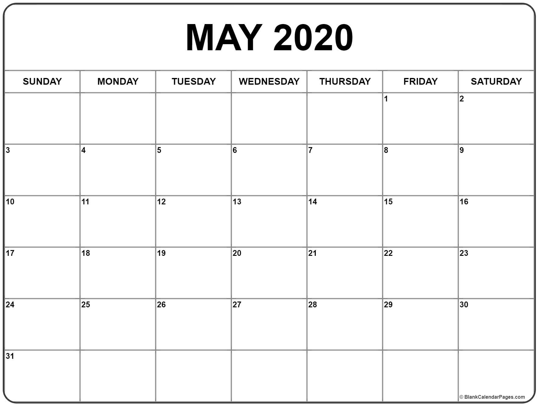 Blank May 2020 Calendar Printable Calendar Printables Monthly