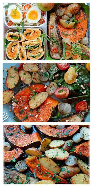 Ofengemüse mit Kürbis für Teller \ Lunchbox - vegetarisch, schnell