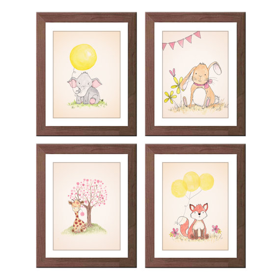 Animal Nursery Art Illustrations  Baby Girl Wall by TheDaisyFields