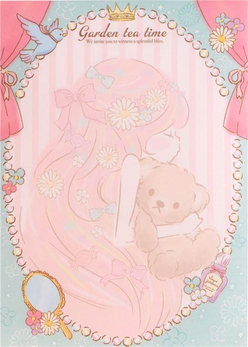 cute pretty girl bubble bird glitter Note Pad by QLia in