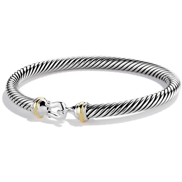 David Yurman 5mm Sterling Silver Buckle Bracelet (900 BAM) ❤ liked on Polyvore featuring jewelry, bracelets, sterling silver bangles, 18 karat gold jewelry, sterling silver jewelry, david yurman jewellery and 18k jewelry