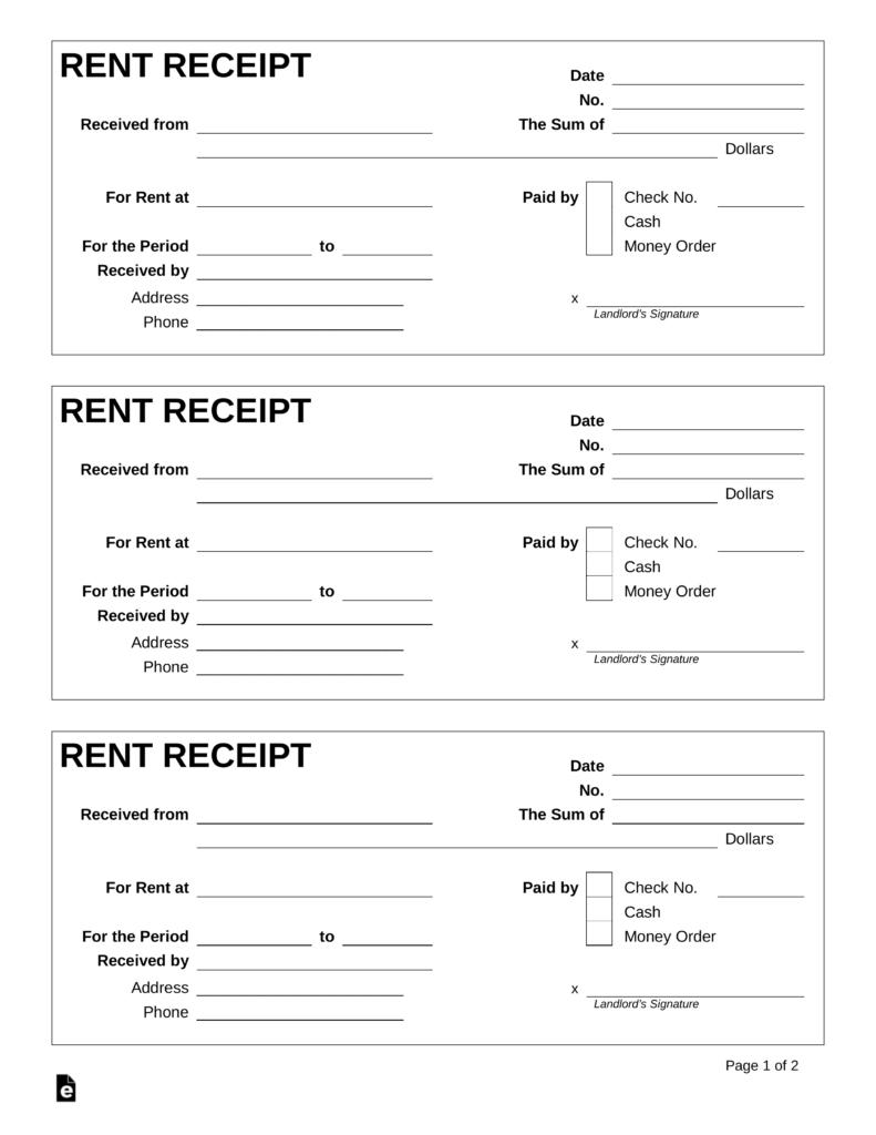 Free Rent Receipt Template Pdf Word Eforms Free Fillable Forms Receipt Template Invoice Template Word Peer Editing