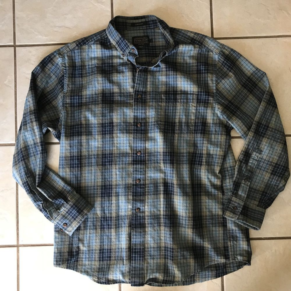 Pendleton Men's L 100% Virgin Wool Shirt Button Collar Green/Blue Turquoise Plaid Minty dqGqig