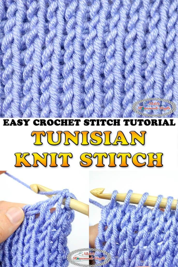 Learn how to crochet the Tunisian Knit Stitch with this easy to understand Photo and Video Tutorial. #free #crochet #pattern #tunisian #tunisiancrochet #crochettutorial #knit #knitstitch #crochetpattern #freecrochetpatterns #tutorial #photo #video