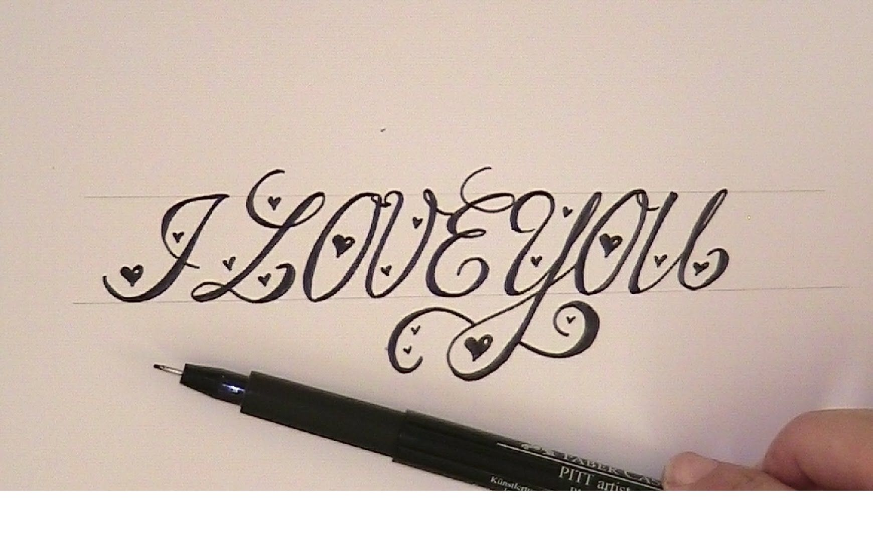 Happy Birthday Typography Cursive ~ How to write in cursive calligraphy i love you easy version