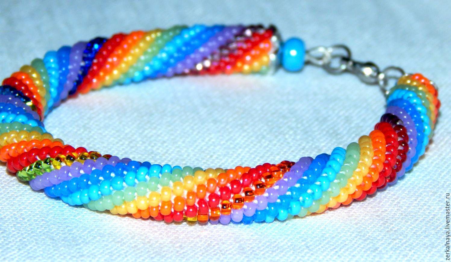 """Купить Браслет из бисера """"Радужный"""". - радуга, радужный, браслет, браслеты, жгут из бисера, жгут"""