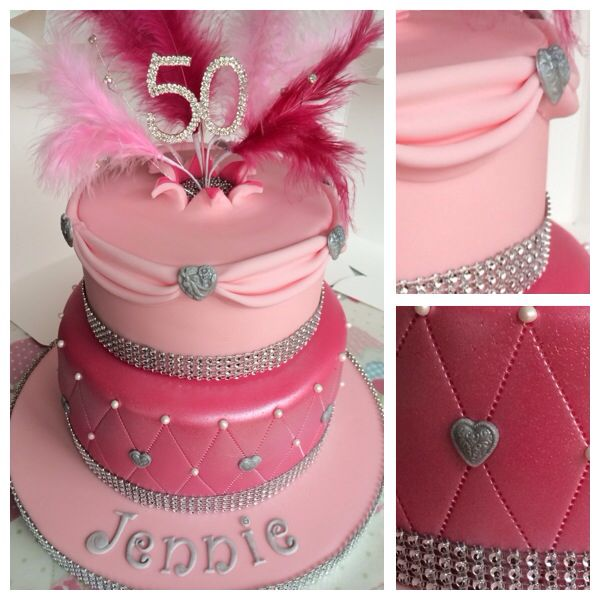 Pink Sparkly Two Tier Birthday Cake