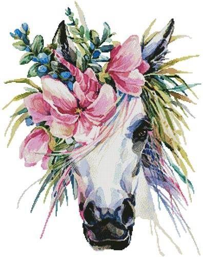 Floral Unicorn - cross stitch pattern designed by Tereena Clarke. Category: Fantasy.