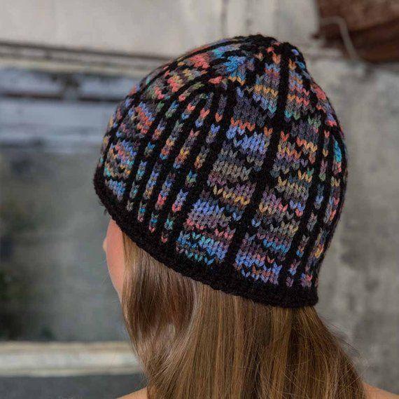 Womens Knit Hat Blue Stain Glass Knit Beanie Black Womans Knit Skull Cap  Grey Knit Ski Cap Terra Cot fdca3126b6